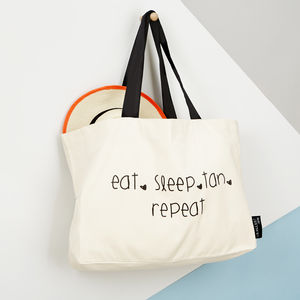 'Eat, Sleep, Tan, Repeat' Tote Bag - beach bags