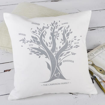 Personalised Family Tree Colour Cushion Cover