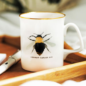 British Bee Bone China Transfer Mug With 22kt Gold Rim