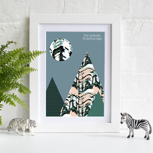 Personalised Mountain Adventures Day Print - passion for pattern