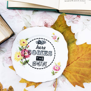 'Here Comes The Sun' Upcycled Vintage China Tea Plate