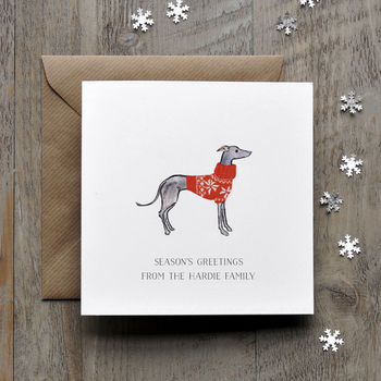 Greyhound Whippet Christmas Card