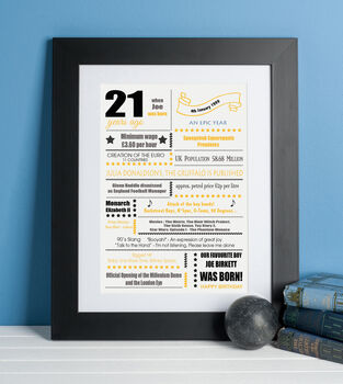 21st Birthday Print 'Year You Were Born'