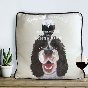 Springer Spaniel Cushion, Dog Au Vin Wine Gift - patterned cushions