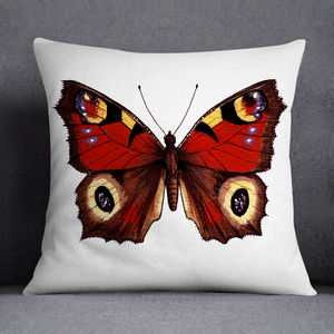 Peacock Butterfly Illustrated Printed Cushion