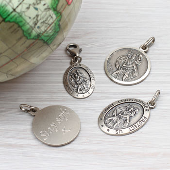 Personalised Silver St Christopher Charm