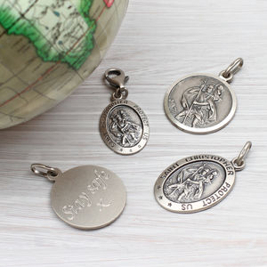 Personalised Sterling Silver St Christopher Charm