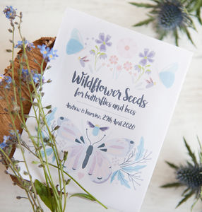 10 Butterfly And Bee Personalised Seed Packet Favours - wedding favours