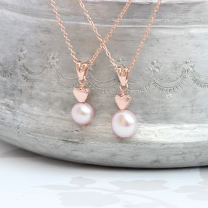 Mama Et Moi Pink Pearl Pendants With Heart