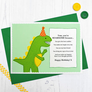 'You're Roarsome' Dinosaur Personalised Birthday Card