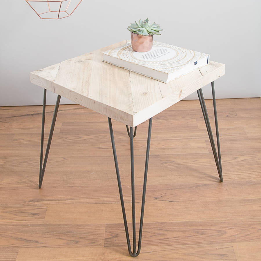 Reclaimed Wooden Square Coffee Table With Hairpin Legs By Made Anew