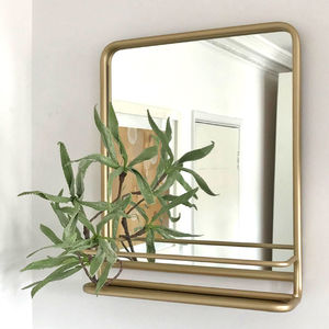 Portrait Carriage Mirror With Shelf Black Or Gold - mirrors