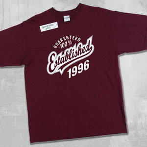 'Established 1996' 21st Birthday T Shirt - 40th birthday gifts
