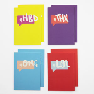 Hashtag Cards Pack Of Eight - thank you cards