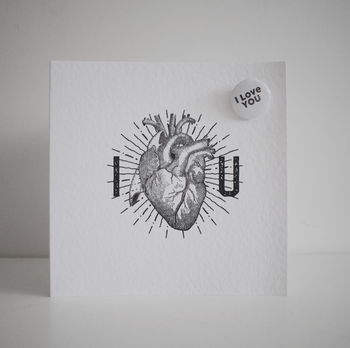 Anatomical Heart Card And I Love You Badge