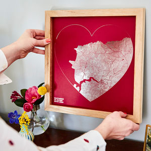 Metallic Heart Shaped City Map Print