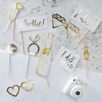 Hen Party Gold Foil Photo Booth Props