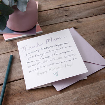 'Thanks Mum…' Mother's Day Card