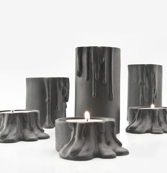 Black Candle Holder With Melting Drops