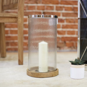Glass Ribbed Lantern - candles & home fragrance