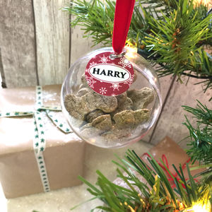 Personalised Dog Treat Christmas Bauble - tree decorations
