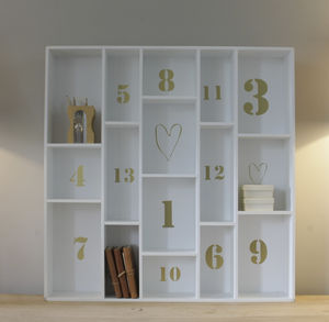 Large Wooden Shelving Unit With Gold Lettering - children's room