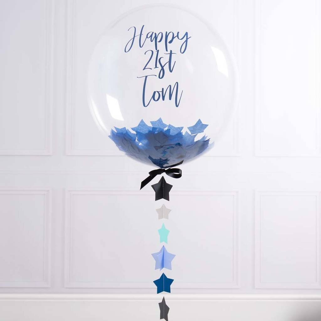 Personalised 21st Birthday Confetti Bubble Balloon