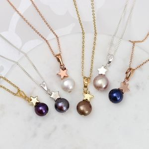 Solitaire Single Pearl With Silver Or Gold Star Pendant - necklaces & pendants