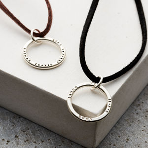 Personalised Circle On Suede - necklaces