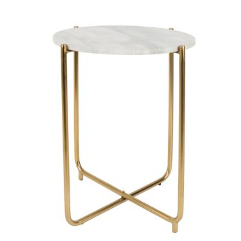 White Scandinavian Marble Side Table
