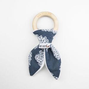 Navy Blue Geometric Clouds Personalised Teething Ring