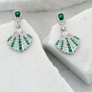 Isabella Art Deco Drop Earrings In Emerald Green - earrings