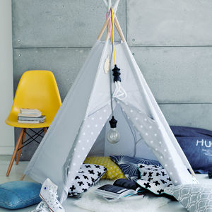 Star Print Grey Sky Teepee - toys & games