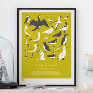 'British Coast' Sea And Estuary Birds Screen Print - valentine's gifts for him