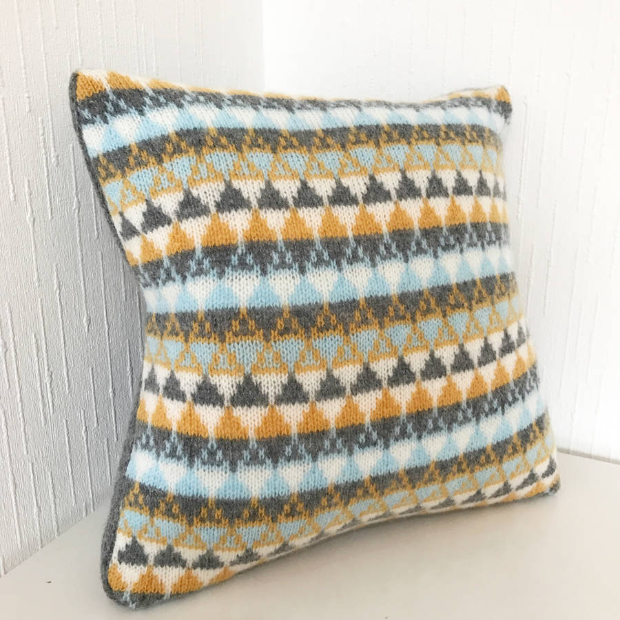 Geometric Cushion Knitting Pattern : geometric triangle scatter cushion by little knitted stars notonthehighstre...