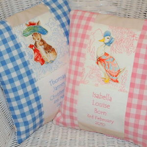 Beatrix Potter© Birth And Christening Cushion - baby's room