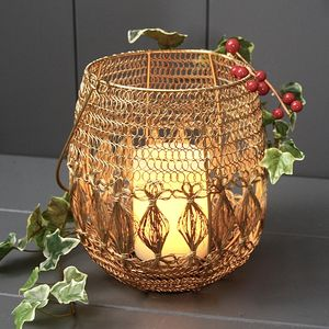 Gold Wire Lantern - candles & home fragrance