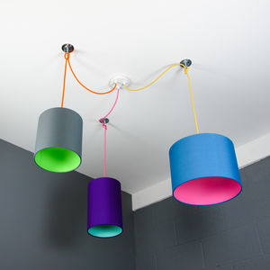 Three Way Ceiling Rose Kit With Pick And Mix Lampshades - ceiling lights