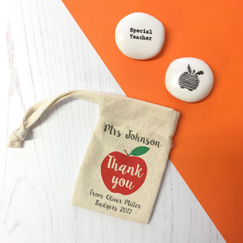 Personalised 'Thank You' Teacher Gift Pebble And Pouch