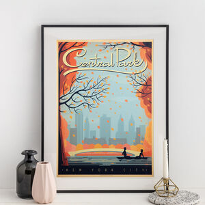 New York Central Park Autumn Retro Travel Print