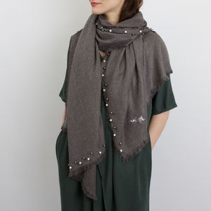 Personalised Cashmere And Pearl Shawl - hats, scarves & gloves