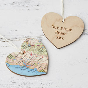 Map Location Hanging Heart Keepsake Gift For Her