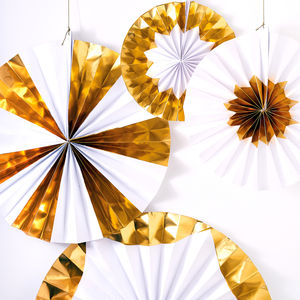 Giant Gold And White Pinwheel Decorations