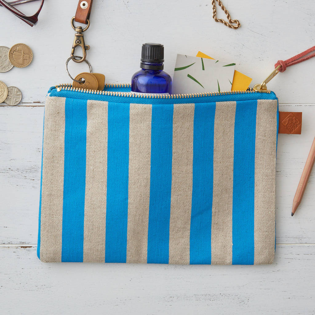 Deckchair Blue Stripe Linen Zipped Purse