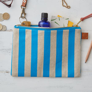 Deckchair Blue Stripe Linen Zipped Purse - womens