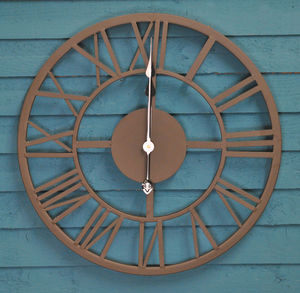Black Roman Numeral Indoor And Outdoor Wall Clock 56cm - clocks