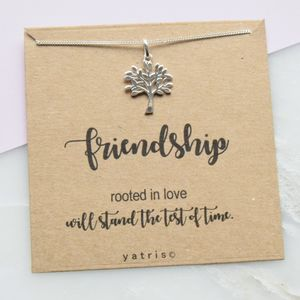 Tree Of Life Friendship Silver Necklace Gift Box