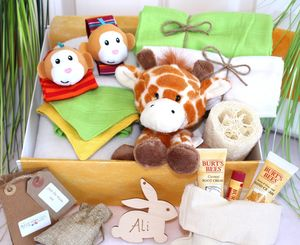 Unisex Pamper Hamper For Mother And Baby, Safari Animal - soft toys & dolls