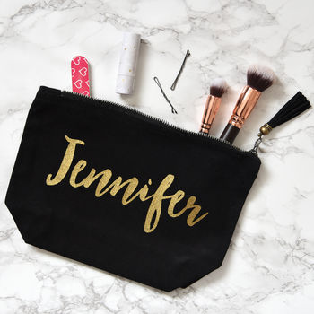 Personalised Make Up Bag, Black And Gold