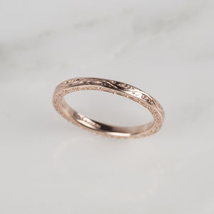 9ct Rose Gold Engraved Ring